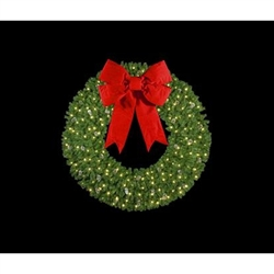 mountain pine wall mount wreaths with mini lights and 3d bow - Christmas Wreaths With Lights